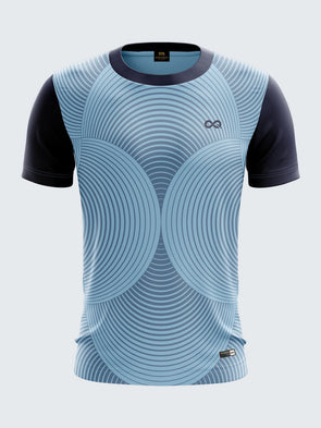 Men Navy Blue Printed Round Neck Cricket Jersey-1343NBSportsqvest