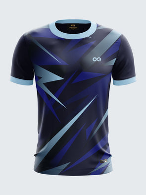 Men Navy Blue Printed Round Neck Football Jersey-1395NB |Sportsqvest