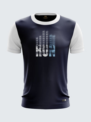 Men Navy Blue Printed Round Neck Running T-shirt Sportsqvest
