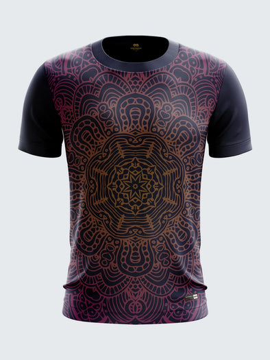 Men Navy Blue Printed Round Neck T-shirt Sportsqvest