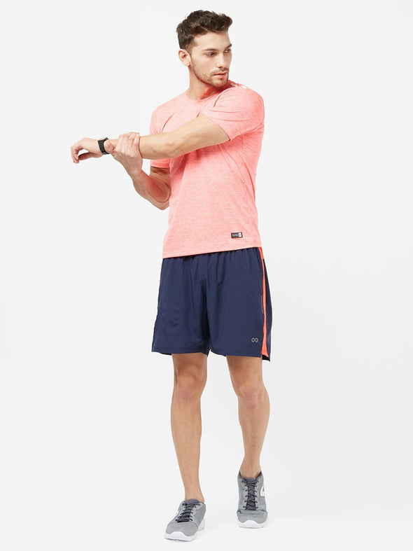 Men Navy Blue Solid Sports Shorts-A10092NB Sportsqvest