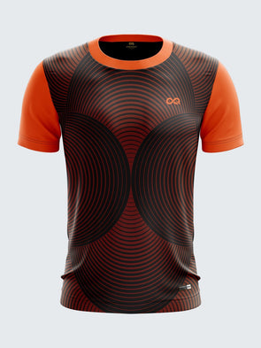 Men Orange Printed Round Neck Cricket Jersey-1343OGSportsqvest