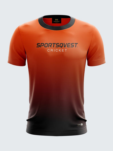 Men Orange Printed Round Neck Cricket Jersey-1385OG |Sportsqvest