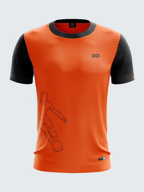 Men Orange Printed Round Neck Football Jersey-1339OGSportsqvest