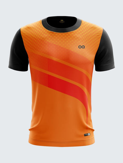 Men Orange Printed Round Neck Hockey Jersey-1372OG |Sportsqvest