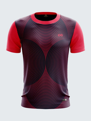 Men Pink Printed Round Neck Cricket Jersey-1343PKSportsqvest