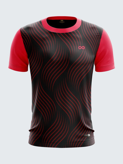 Men Pink Printed Round Neck Football Jersey-1345PKSportsqvest