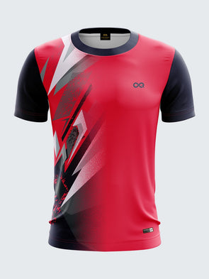 Men Pink Printed Round Neck T-shirt Sportsqvest