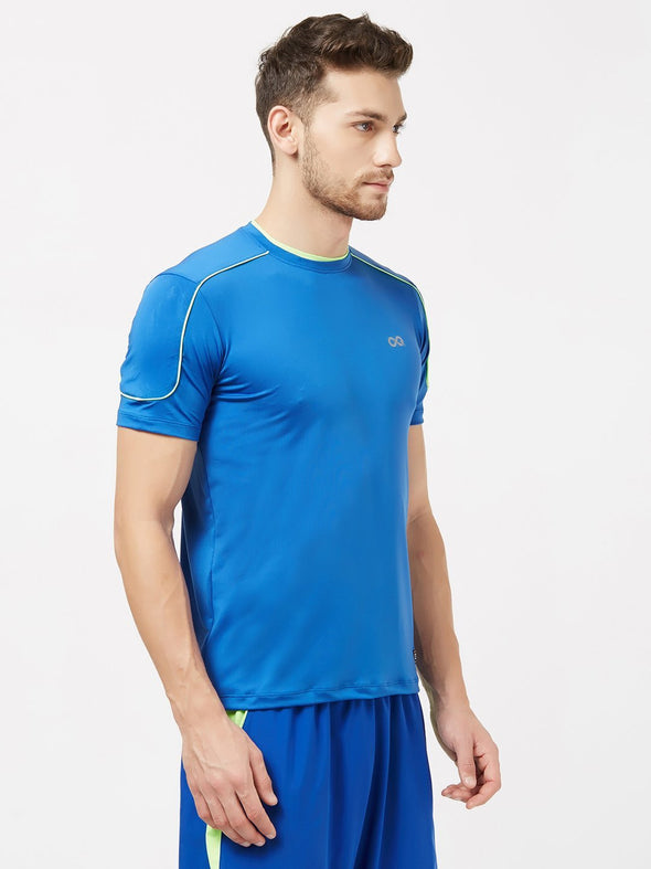 Men Royal Blue Solid Round Neck Premium T-shirt-A10063RB Sportsqvest