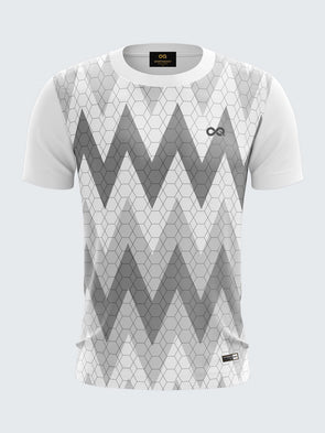 Men White Printed Round Neck Football Jersey-1396WH |Sportsqvest