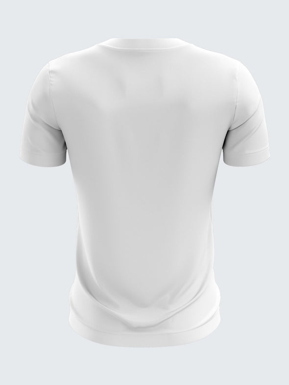 Men White Printed Round Neck Running T-shirt-1398WH | Sportsqvest