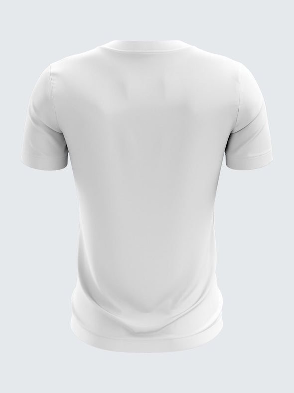 Men White Printed Round Neck Training T-shirt-1425WH Sportsqvest