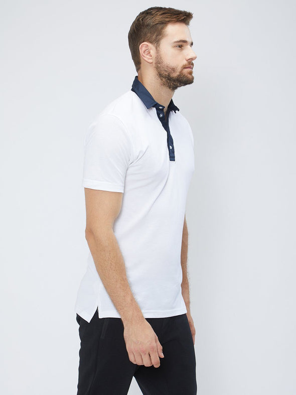Men White Solid Polo T-shirt Sportsqvest