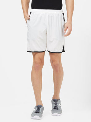Men White Solid Sports Shorts-A10095WH Sportsqvest