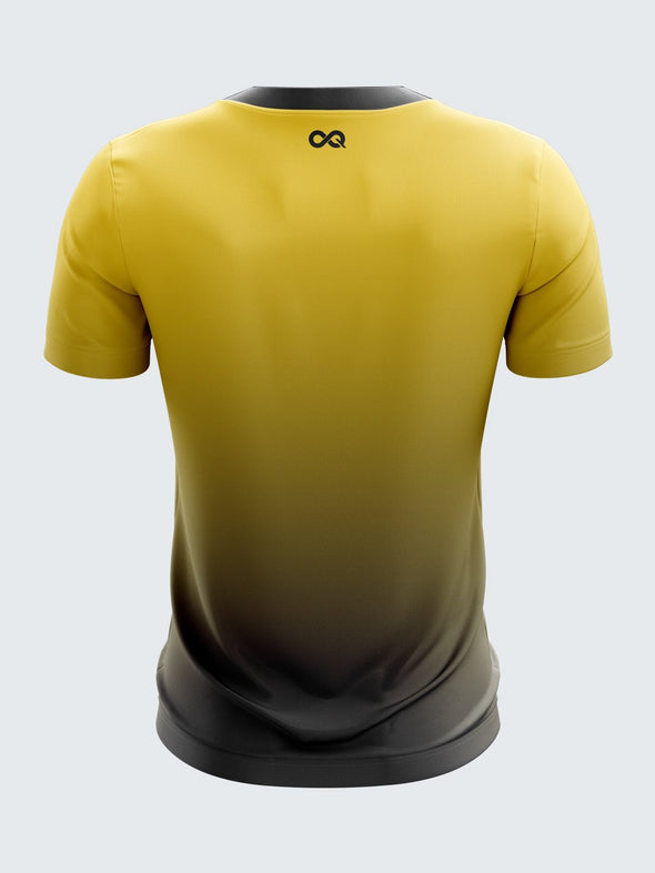 Men Yellow Printed Round Neck Cricket Jersey-1385YW |Sportsqvest