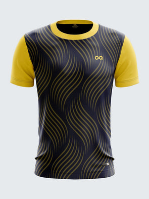 Men Yellow Printed Round Neck Football Jersey-1345YWSportsqvest