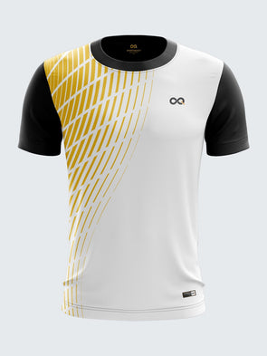 Men Yellow Printed Round Neck T-shirt-1390YW |Sportsqvest