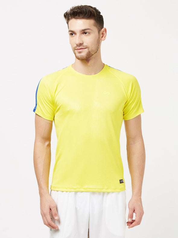 Men Yellow Solid Round Neck Premium T-shirt-A10065YW Sportsqvest
