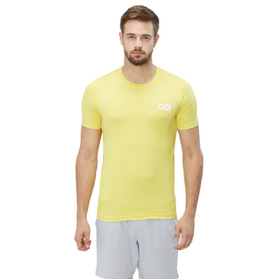 Men Yellow 4-Way Stretch Solid Round Neck T-shirt Sportsqvest