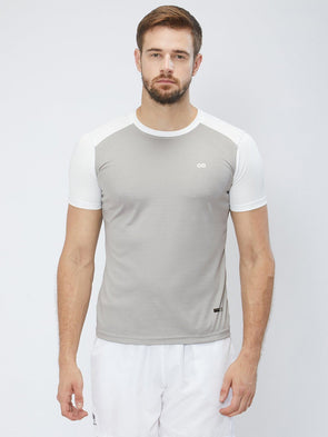 Men Grey & White 2-Way Stretch Solid Round Neck T-shirt Sportsqvest