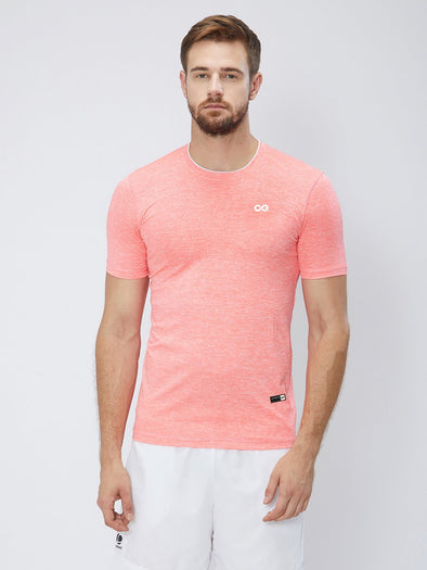 Men Peach 2-Way Stretch Self Design Round Neck T-shirt Sportsqvest