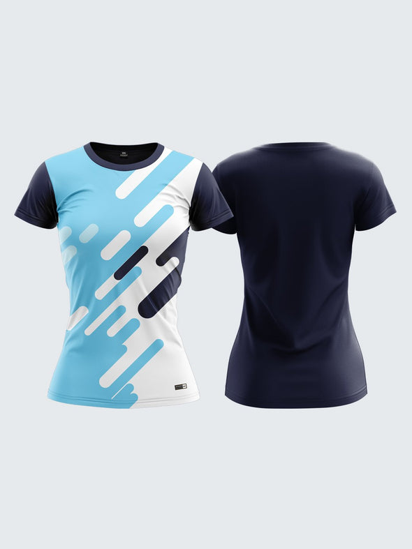 Women Blue Printed Round Neck T-shirt Sportsqvest