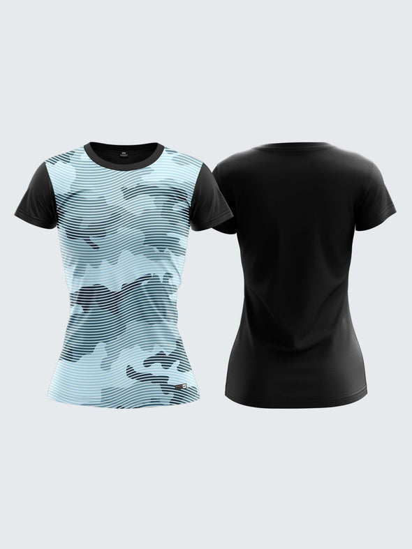 Women Light Blue Camouflage Round Neck T-shirt- 1355BL Sportsqvest