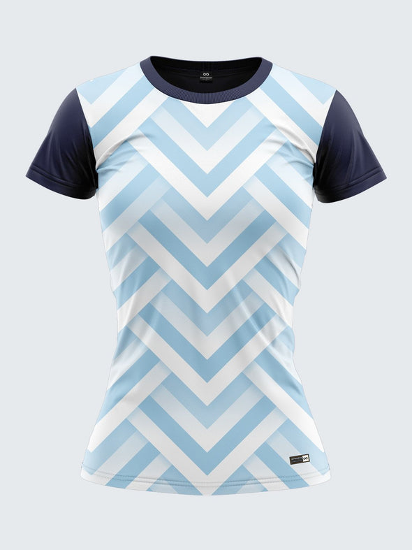 Women Light Blue Printed Round Neck T-shirt- 1359BL Sportsqvest