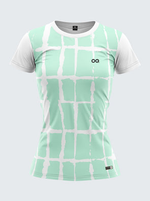 Women Light Green Printed Round Neck T-shirt Sportsqvest