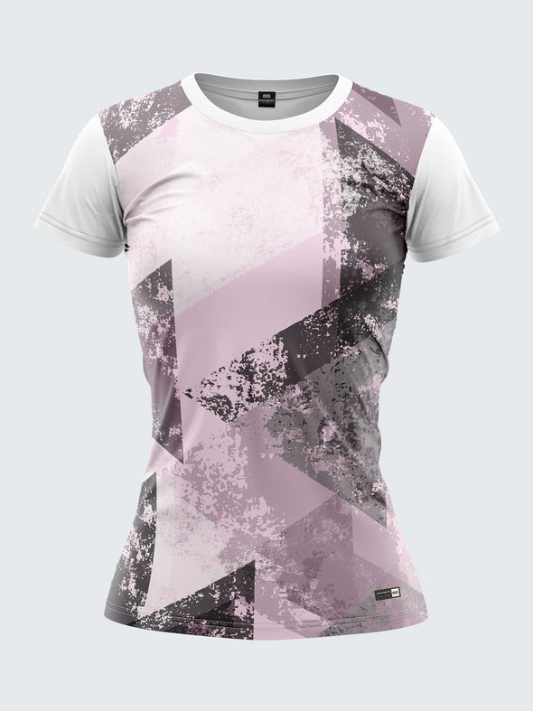 Women Light Pink Printed Round Neck T-shirt Sportsqvest