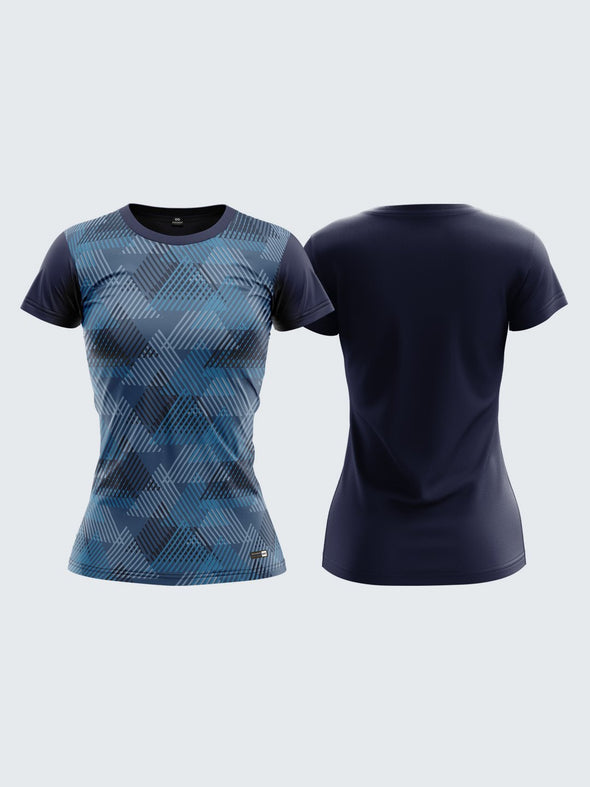 Women Navy Blue Printed Round Neck T-shirt Sportsqvest