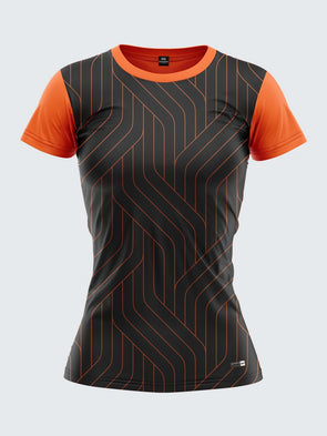 Women Orange Printed Round Neck T-shirt- 1362OG Sportsqvest