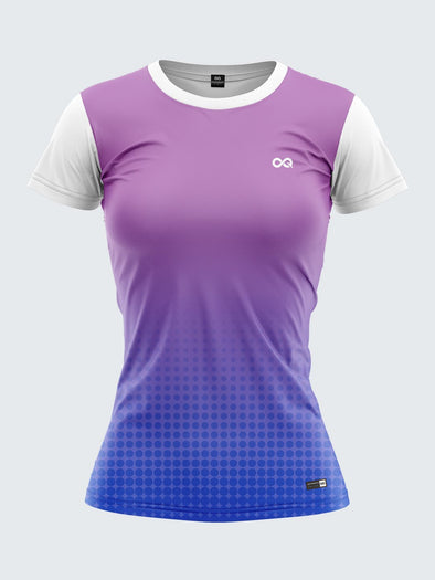 Women Purple Printed Round Neck T-shirt- 1356PP Sportsqvest