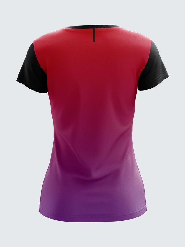 Women Red Printed Round Neck T-shirt- 1353RD Sportsqvest