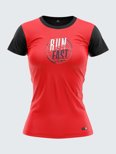 Women Red Printed Round Neck T-shirt- 1354RD Sportsqvest
