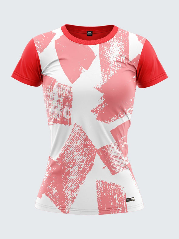Women Red Printed Round Neck T-shirt- 1358RD Sportsqvest