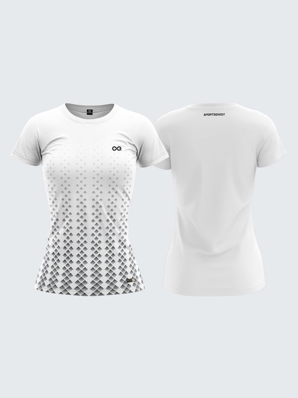 Women White Printed Round Neck T-shirt Sportsqvest
