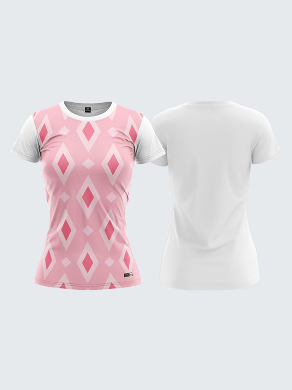 Women White Printed Round Neck T-shirt- 1368WH Sportsqvest