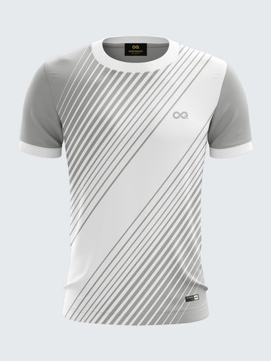 Men Grey Printed Round Neck Football Jersey-1397GY |Sportsqvest