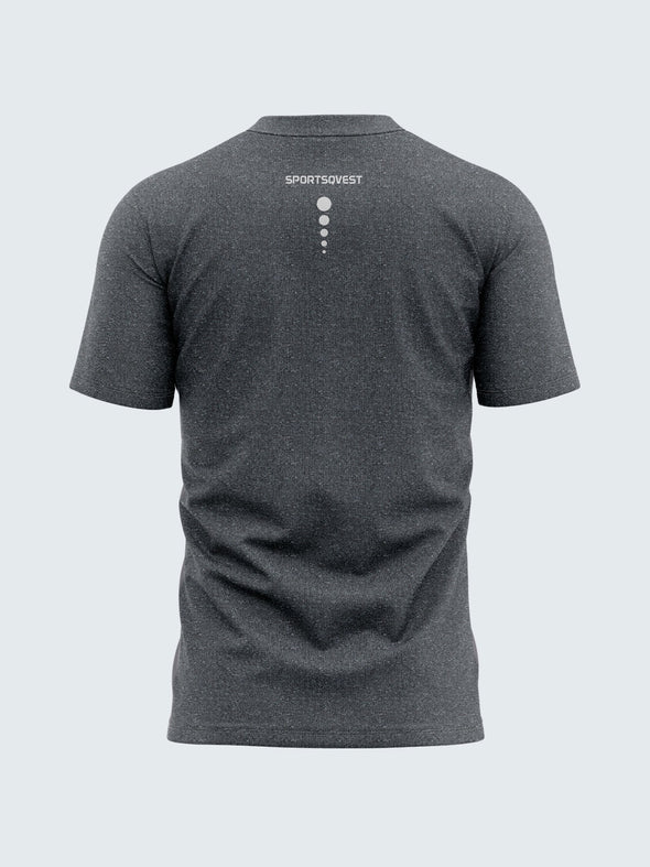 Men Dark Grey Self Design Round Neck Active T-shirt-A10021CC
