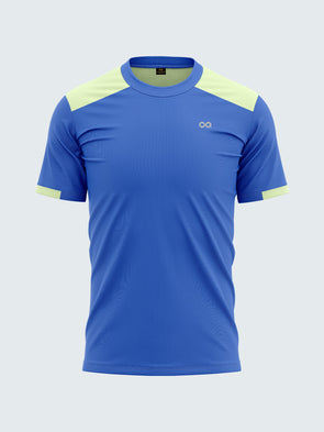 Men Royal Blue Stretch Solid Round Neck Active T-shirt-A10044RB
