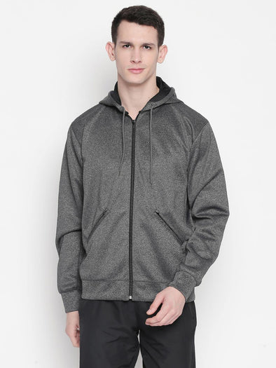 Men Grey Melange Full Zip Hoodie-A10106