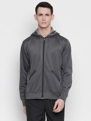 Men Grey Solid Full Zip Hoodie-A10116