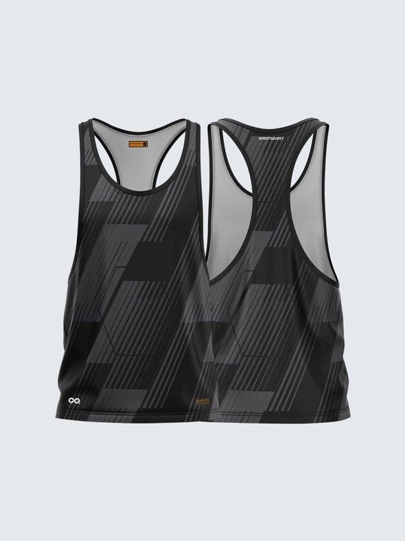 Men Racerback Black Printed Vest-1670BK