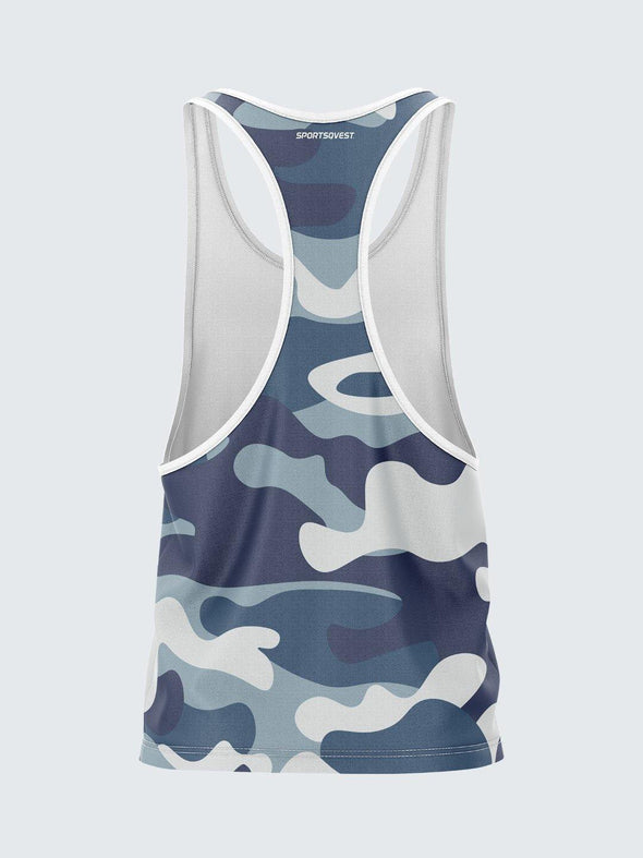 Men Racerback Blue Printed Vest with White Pipping-1672BLW - Sportsqvest