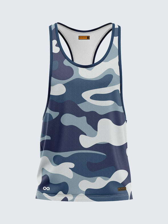 Men Racerback Blue Printed Vest-1672BL