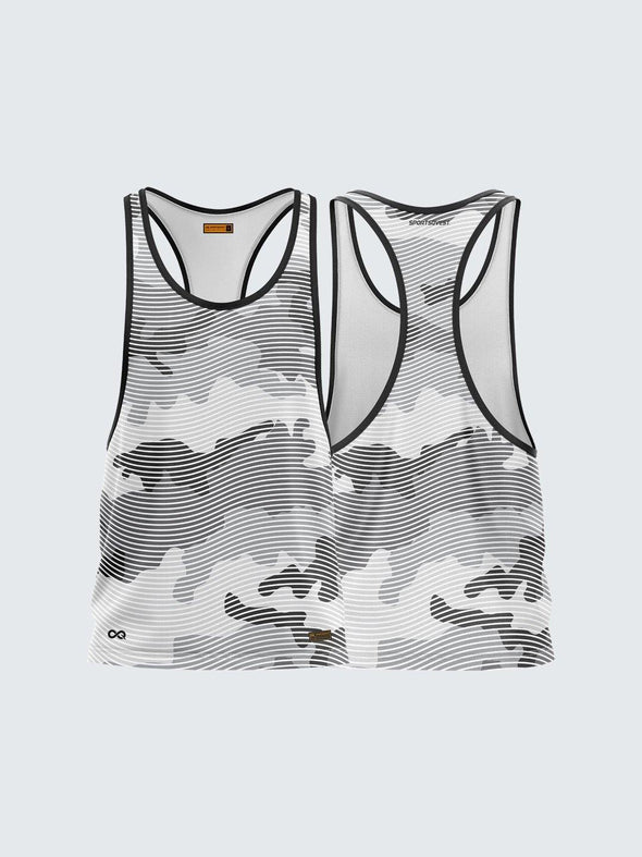 Men Racerback Grey Printed Vest