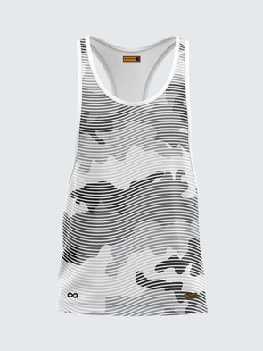Men Racerback Grey Printed Vest-1672GY