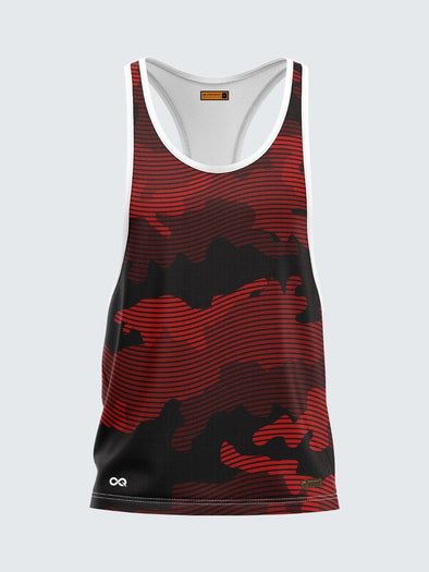 Men Racerback Red Printed Vest with White Pipping - 1672RDW