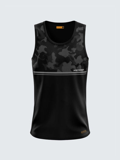 Men Singlet Black Printed Tank Top-1779BK